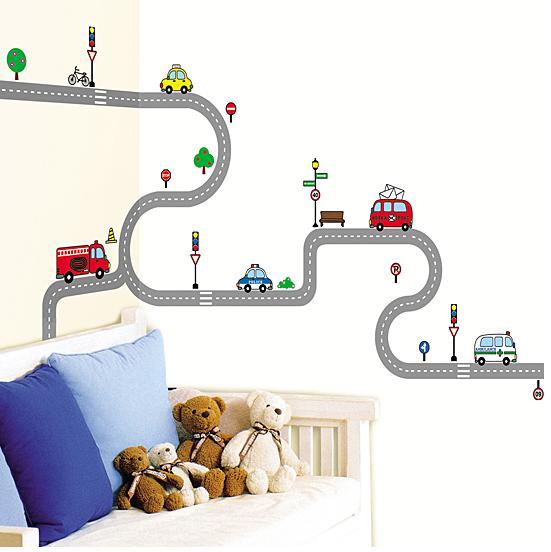Mural de stickers de vehículos para niños en Enfants et Maison