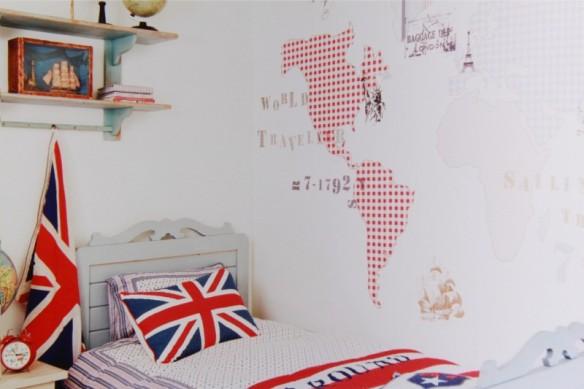Papel pintado para habitaciones infantiles y juveniles mural world map en Maison Artist