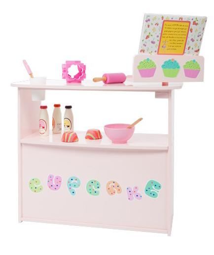 Mostrador de tienda de cupcakes de juguete para niños y niñas con atril y accesorios Barruguet