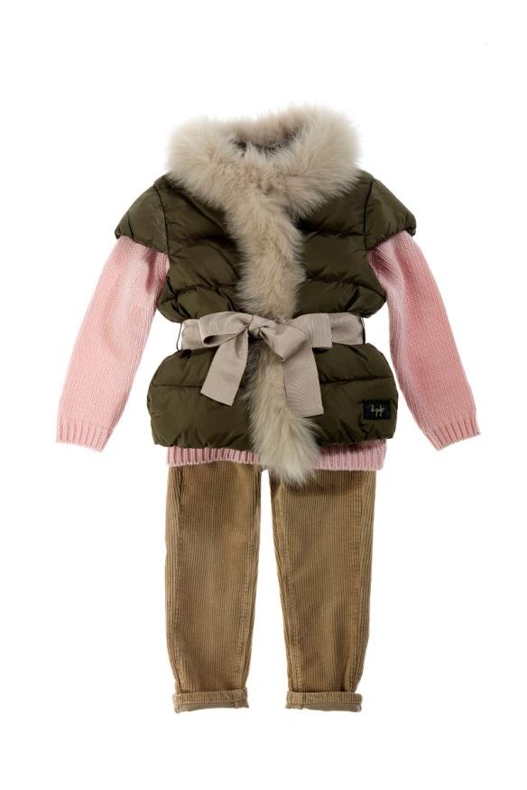 Chaleco, jersey y pantalón niña Il Gufo