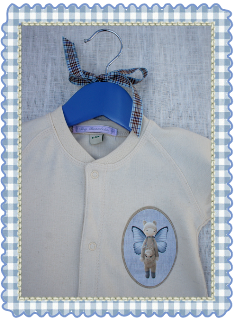 Detalle pelele bebé crudo crochet By Bosolita