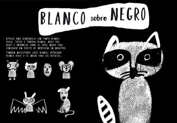 Huellas blanco sobre negro, Arte deja tus huellas de Cocobooks