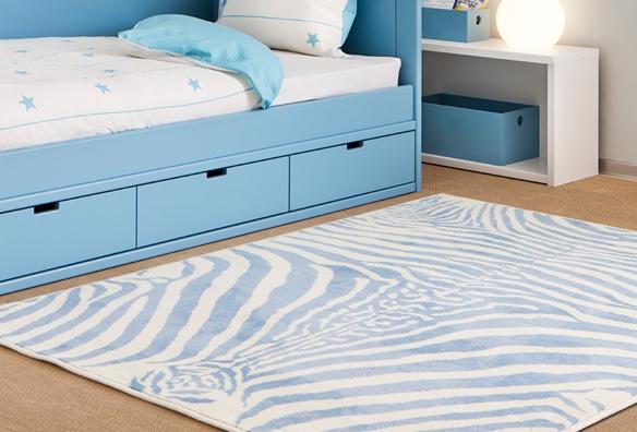 Lorena Canals alfombra acrílica zebra azul