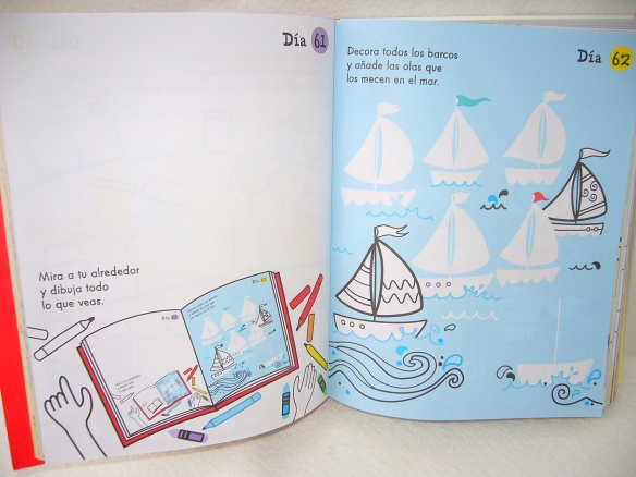 Un día, un dibujo de la editorial Usborne, libro infantil para dibujar