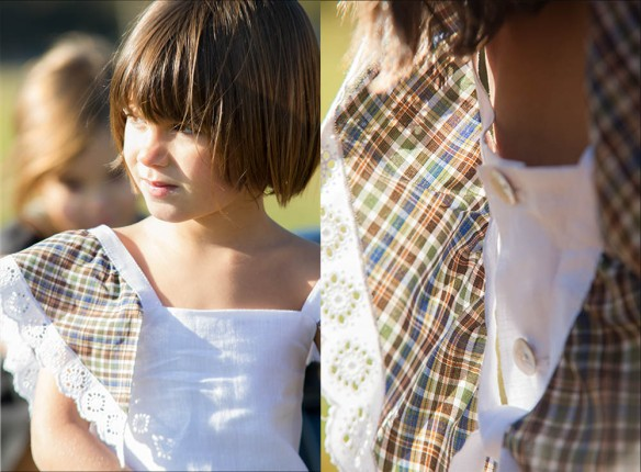 Vestido blanco con mangas de cuadros para niñas primavera-verano 2014, de Felicia Much