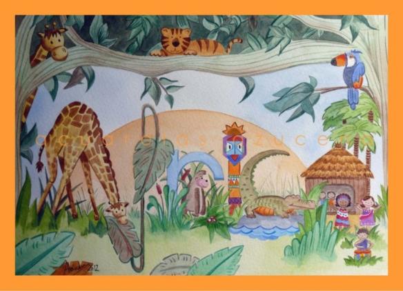 Acuarela Africa para habitaciones infantiles,  de Acuarelas Azucena