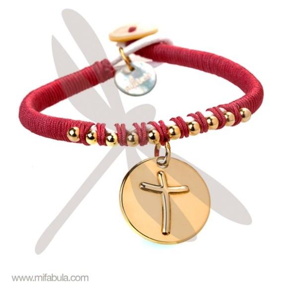 Pulsera alegre medalla La cruz de Anna, Mifabula, joya para la Primera Comunión