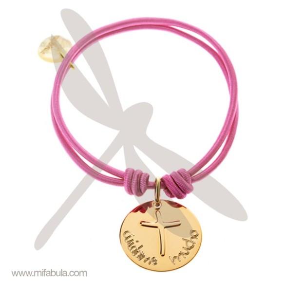 Pulsera de goma medalla La cruz de Anna, Mifabula, joya para la Primera Comunión