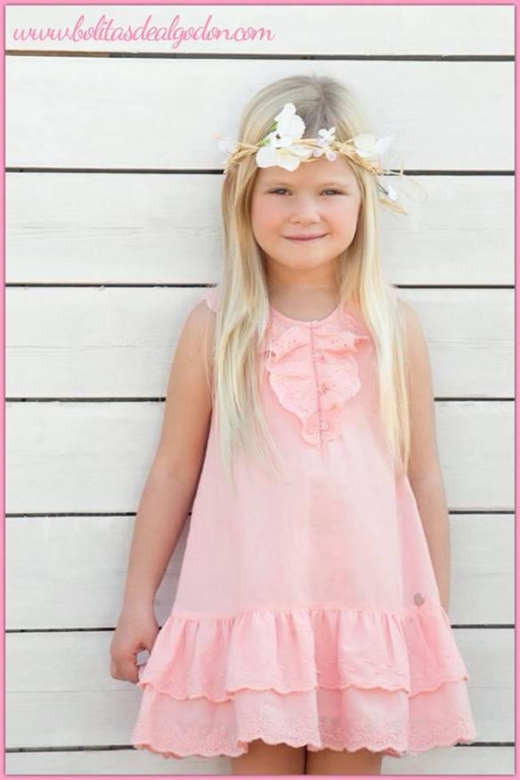 Vestido niña con cuello de volante primavera-verano 2014 Bolitas de Algodón