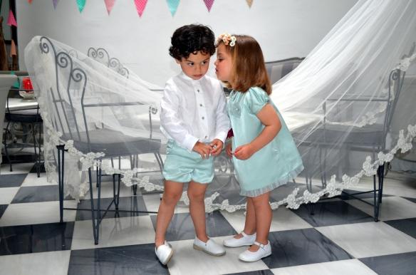 Vestido niña piel de ángel y conjunto para niño, Micaela Micaelo primavera-verano 2014